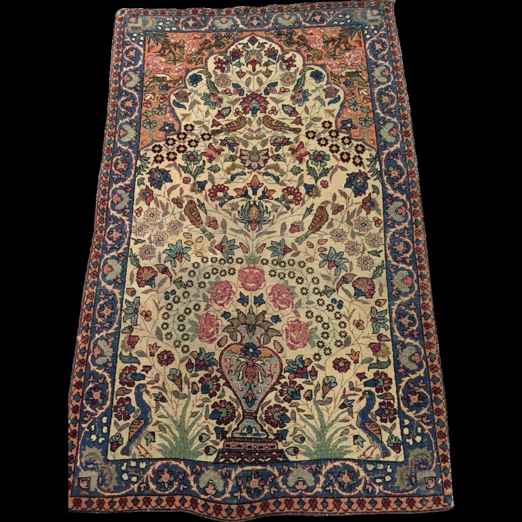 Beautiful Persian Lavar Kerman Tree Of Life Oriental Rug