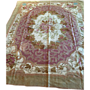 Lovely Real-19th c. French Aubusson Rug 7' X 10' handmade, Free appraisal-free shipping