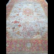 "WOW! ca. 1890 OUSHAK Oriental RUG,  Turkey, Soft Colors of Cream, Orange & Pink Border, Veg. Dyes 9'3""x13'5"",   free shipping"