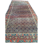 "Persian SENNAH Oriental Rug, Overall Design  Blue, Cream & Coral  ca. 1880,  6'4"" X 15'3""-Long & Narrow, Reduced! Free appraisal-Free Shipping"