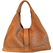REDUCED! Large Elegant Like New BOTTEGA VENETA Signature Woven Calf  Skin Leather Purse  with  Double Handles- Made in Italy-original dust bag-free shipping