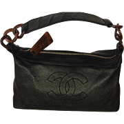 Beautiful  CC CHANEL Black Leather handbag with CC on front- Leather with Tortoise Rings handle, Free Shipping
