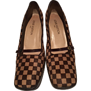 """STUNNING! Classic Brown LOUIS VUITTON Damier Sauvage  Pony Hair Shoes, Size 39 1/2,  Made in Italy, 2 """" Heel"""
