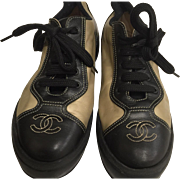 SNAZZY-CHANEL Logo Sneakers-Black with Gold-size 40-made in Italy-Great condition-free shipping