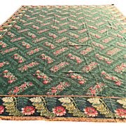 Antique English Needlepoint Rug, Hand Made of Wool. Overall design with beautiful complimentary border, Excellent Quality, Hard to find  Large-Size-12' x 16'