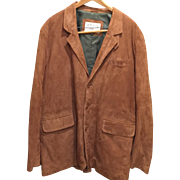ORVIS SPORTING TRADITIONS- Camel GENUINE LEATHER SUEDE JACKET, Men's-size 48 long, fully lined, all original buttons, free shipping