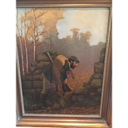 SALE 19th c. European Hunting Scene Oil on Canvas Painting of hunter with deer-Great ...