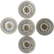 """Beautiful set of 11 Dresden style reticulated porcelain 6 1/2"""" plates marked Germany on the back-free shipping"""