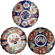 """Collection of 3 Antique Beautifully Painted  Japanese IMARI Porcelain Chargers/Plates 8 1/2"""" each, free shipping"""