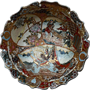 Stunning Early Japanese SATSUMA LARGE BOWL finely painted inside and out with scalloped rim