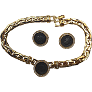 Beautifully Stunning Costume Jewelry-Aged Coin, Diamond like Bezel  Choker Necklace and matching clip Earring Set