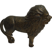 What a handsome LION! Wonderful heavy and thick nicely detailed Cast IRON BANK door stop- desk accessory, free shipping