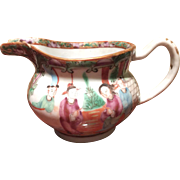 Fine ROSE MEDALLION Porcelain Creamer with gold, emerald green, roses, bird-made in China 1880-free shipping