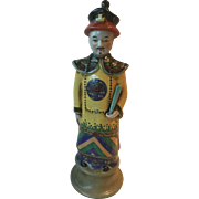 Ceramic Chinese Imperial Figure wearing tradition clothes in nice colors-Tall 16""
