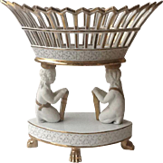 Beautiful White Porcelain Figural Tazza or Fruit Compote Centerpiece with Gold accents, three Classical, three feet,
