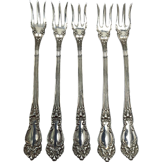 """5 Cocktail Seafood Forks in Tiger Lilly Silver Plate, 1901, by Reed and Barton, Ornate Art Nouveau, 5 5/8"""" Free shipping"""