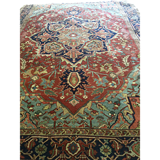 Beautiful Persian SERAPI Oriental Rug, ca. 1920, with hard to find sky blue and green-hand woven with wool using vegetable dyes, 9' X 12', Make offer! free shipping