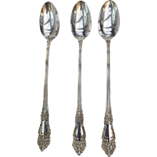 """3 Reed and Barton TIGER LILY Silver Plate  Ice Tea Spoons 7 1/4"""" long, Ornate Art Nouveau, free shipping"""