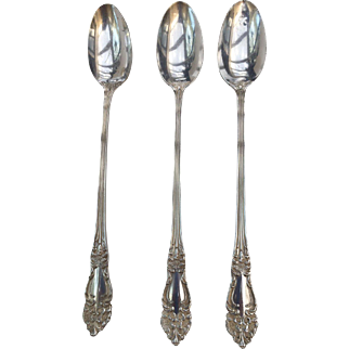 "3 Reed and Barton TIGER LILY Silver Plate  Ice Tea Spoons 7 1/4"" long, Ornate Art Nouveau, free shipping"