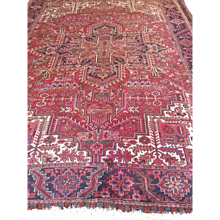 Fine  Classic Persian HERIZ, Geometric- Hand Woven using fine wool dyed with natural-vegetable dyes on cotton foundation, 8' x 11' ca. 1940