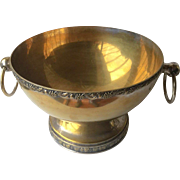 Beautiful Large heavy  Brass Bowl on Silver with Ring Handles on both sides, Silver Embossed top and bottom of bowl-free shipping