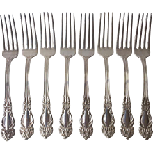 """Beautiful TIGER LILY Silver Plate Forks 8 by Reed and Barton-7 1/2"""" long,"""