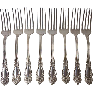 "Beautiful TIGER LILY Silver Plate Forks 8 by Reed and Barton-7 1/2"" long,"