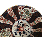 "Beautiful antique IMARI porcelain charger-plate 9 3/4"" round pin mill design with center medallion. Free shipping"