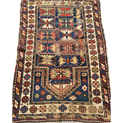 "Beautiful-Fine Antique Geometric Caucasian KAZAK Prayer Oriental Rug 2'10"" x 4' 6"" (3' x 4 1/2') Free Shipping"