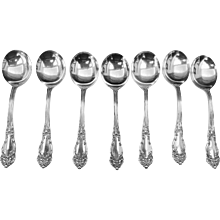Reed and Barton 7 TIGER LILLY Fine Silver Plate Soup Spoons