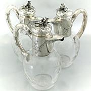 3pc Boulenger Antique French Sterling Silver Wine Decanter Claret Jug Set Art Nouveau