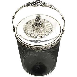 Antique WMF Silver Plated & Glass Biscuit/Cookie/Pastry Jar Box Bowl in Rococo Style