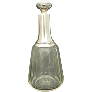 19th Century Antique French Sterling Silver & Crystal Liquor Decanter