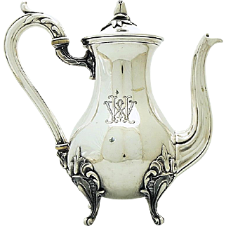 "CHRISTELLE Antique French Silver-plated Tea Coffee Pot in Rococo Style ""MH"""