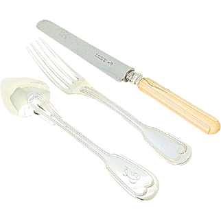 19th Century Antique French Sterling Silver Flatware Set 3pc