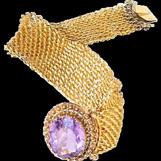 C.1900 Antique French 18K Gold & Amethyst Mesh Bracelet