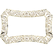 Antique French Platinum, 18K Gold & Diamond Brooch Pin Necklace