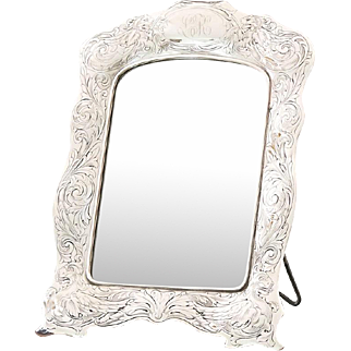 Early 20C Vintage Gorham Sterling Silver Table Vanity Mirror / Photo Frame