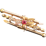 """Art Nouveau Antique French 18K Gold & Pink Tourmaline & Seed Pearl Pin Brooch """"Bee"""""""