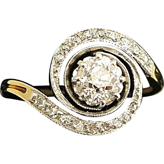 Early 20C Antique French Platinum & 18K Gold Swirl Diamond Ring