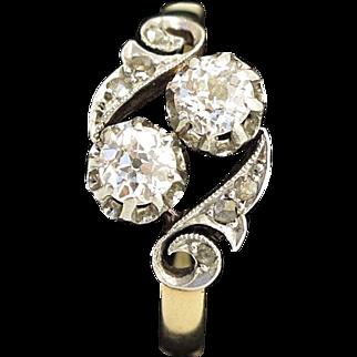 "19C Antique French 18K Gold & Platinum Diamond Ring ""Toi et Moi"""