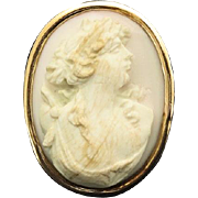 19th Century Antique French 18K Gold & Shell Cameo Brooch Pin