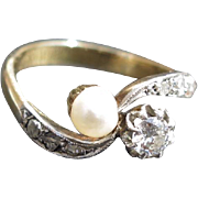 "19C Antique French 18K Gold & Platinum Diamond Pearl Ring ""Toi et Moi"""