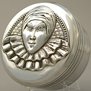 French Silver Plated Bonbon Jewelry Trinket Box Art Deco Carnival