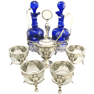 Late 18C to Early 19C Antique French Sterling Silver & Crystal Condiment Set 7pc