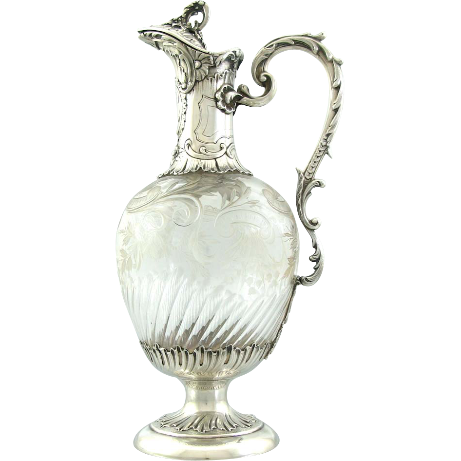 Crystalline Silvers: Antique French Sterling Silver Crystal Wine Decanter Ewer