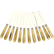 Vintage French Silver Horn Dessert/Cheese/Starter Knife Set 12pc