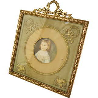 19C Antique French Gilt Bronze Photo Frame in Gorgeous Empire Style
