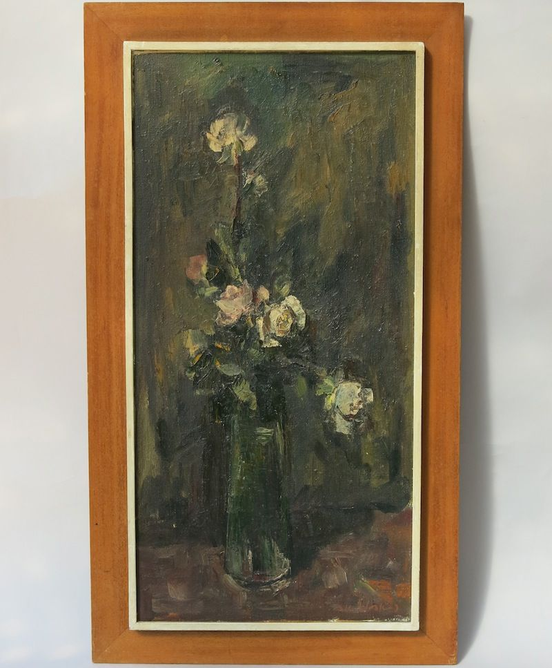 Adolf Adi ADLER Oil on Canvas Still Life Flower Rose in Vase Framed