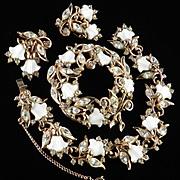 Vintage Hollycraft Lily of the Valley Rhinestone Bracelet Brooch Pin Earrings Set